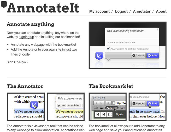 Screenshot of annotateit.org